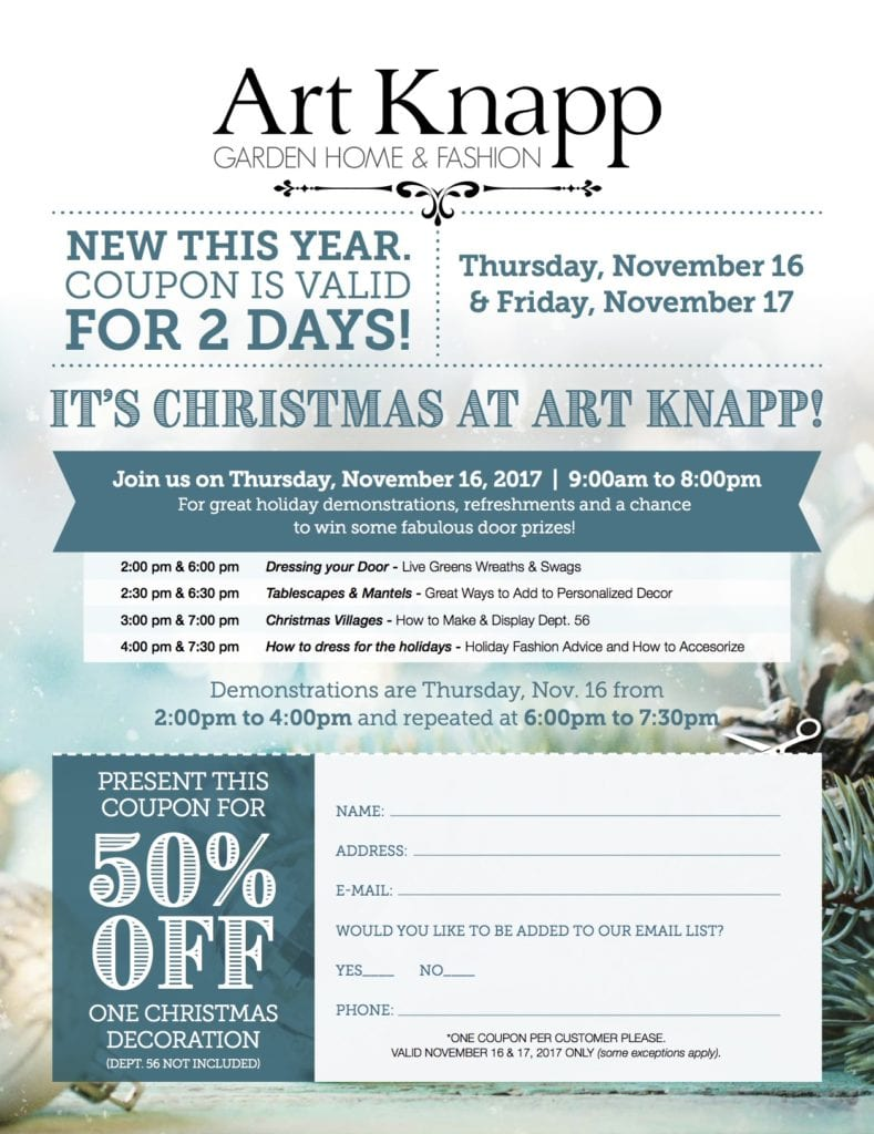 Art Knapp Courtenay Holiday 2017 Open House